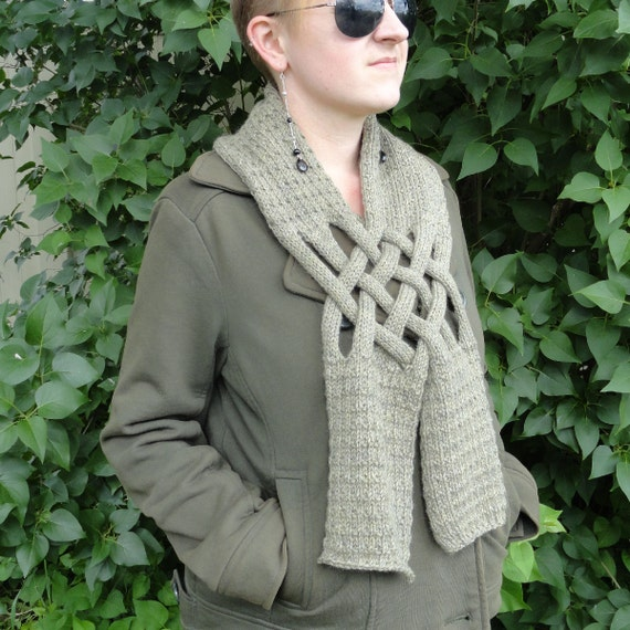 Hand Knit Sparrow Unisex Popover Scarf in Pure Peruvian Highlands Wool