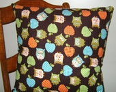 Owl and Apple 18 inch Corduroy Pillow WITH FORM