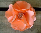 Peach Poly Satin Medium Audrey Flower on Alligator Clip with Jeweled Center