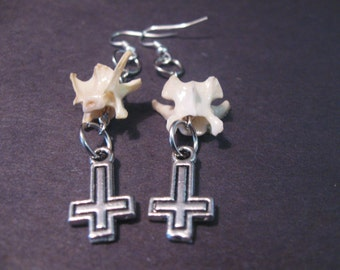 Inverted Cross Earrings with Snake vertebrae ( snake vertebrae earrings)