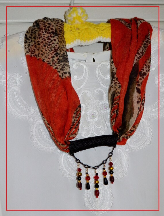 Scarf with Beads -- Red, Black and Gold