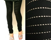 Black leggings - last piece - extra long or regular length - size extra  small medium large xs s m l - US 4 6 8 10 12