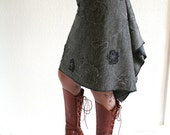 Grey flower skirt - knee length mini - flower embroidery - grey black white - medium size - US 8 - by Bartinki - READY to SHIP