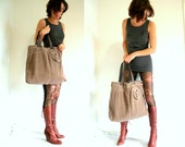Oversized tote bag - weekend bag - light brown with purple and black - upcycled materials - by Bartinki