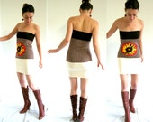SUNFLOWER mini dress - strapless dress - tube skirt - brown red vanilla red - size xs/s US 4/6 - ooak - upcycled materials - by Bartinki