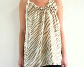Satin top - white beige zebra print - tunic micro dress - summer top - size S/M - US 6/8 - by Bartinki