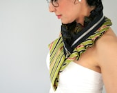 Eco fashion collar from upcycled silk in stripy green and velvet black, womens neckwear, striped collar, neck collar