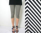 Chevron capri leggings in black and white print - size small US 6 S - only one piece - ready to ship - by Bartinki