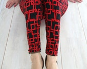 RESERVED Printed leggings in black and red print, made to order,  women's leggings, LAST PIECE