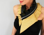 Zipper necklace collar from reclaimed silk in yellow and black, unique neckwear, silk neck collar, one of a kind
