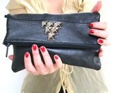 Black leather wristlet - studded - detachable strap - fold-over bag
