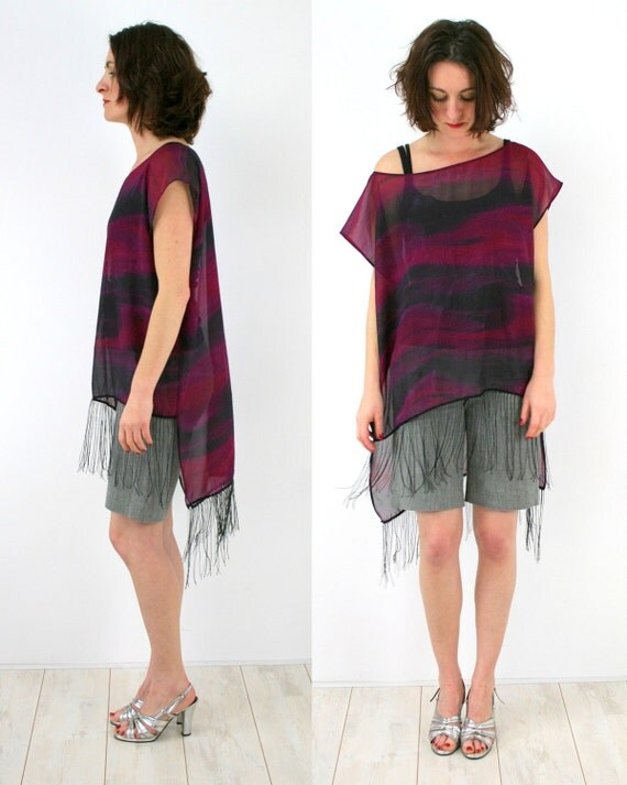 SALE Oversized chiffon top in dark burgundy and black, abstract print party top, summer womens fashion, only one piece - clearance