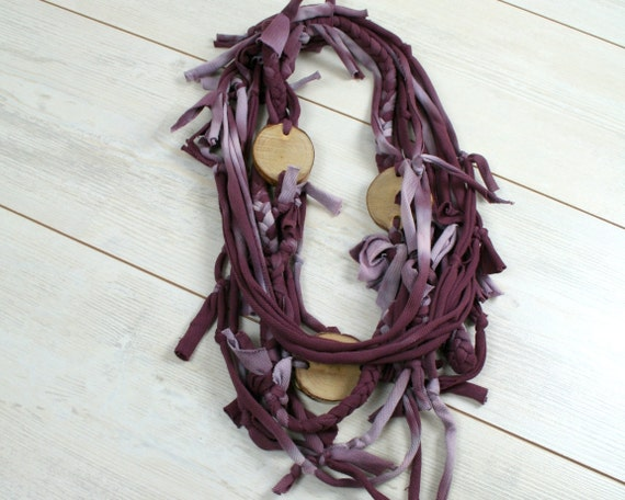 Eco fashion necklace - bole statement necklace - wood and textile - wine-colour burgundy and wood - hand dyed and braided - upcycled fashion