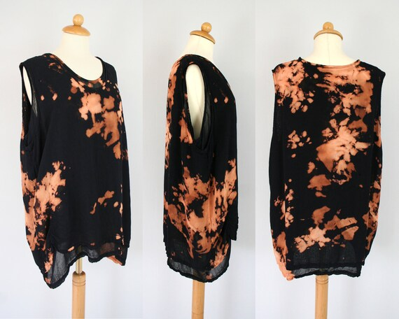 Oversized black top in black - double layered - stained and distressed - one size fits most - only one piece - by Bartinki
