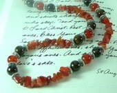 Semiprecious Carnelian and Bronzite Necklace and Earrings with Pewter & Silver Trim