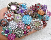 25pcs Assorted Acrylic Rhinestone Sewing Coat Metal Buttons