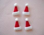 30pcs Of Red Christmas Santa Felt Hat Applique