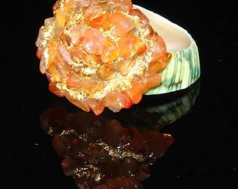 Amazing Shell Ring with Natural Orange Carnelian semi precious gemstones 451