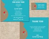Printable Baby Shower Invitation Mini Set, Personalized Digital Design, Thank You, and Return Address Label