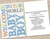Printable Baby Boy Shower Invitation, Personalized Digital Design, Customize, DIY