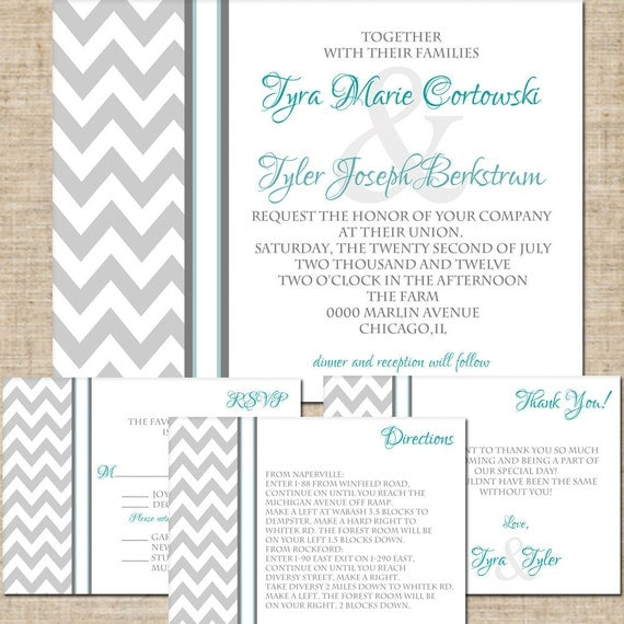 4 Piece, Printable Wedding Invitation Suite, RSVP Card Reply Card, Thank You Card, Enclosure Card, Pick Your Colors, DIY DIY Digital Files