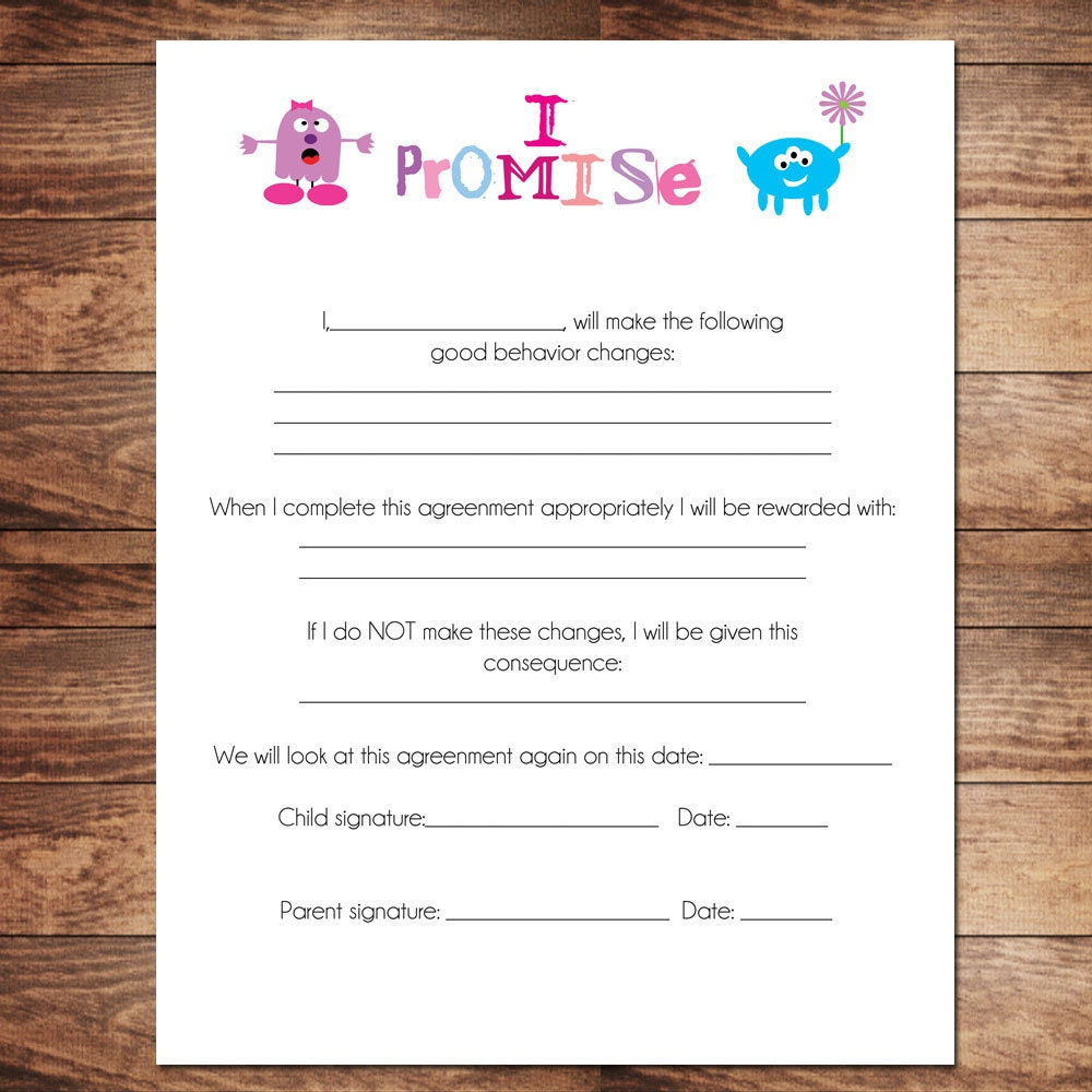 printable girls contract behavioral chart chore chart. Black Bedroom Furniture Sets. Home Design Ideas