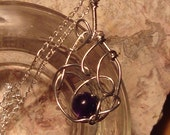 Amethyst Necklace -  Wire Wrap Jewelry - Purple Bead and Silver Unique Pendant