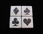 Poker Hand -  Set of 4 Ceramic Tile Coasters