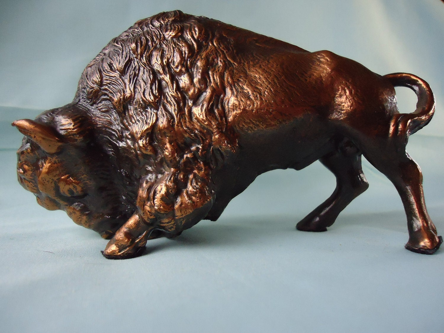 Vintage Bronze Buffalo Figure Bison