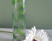 Peacock feather bud vase