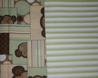 Baby Car Seat Cover - Monkeys and Green Stripe