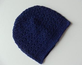 Blue Crochet Beanie Very Light Weight Blue Crochet Hat Blue Sparkle Hat (HAT103 Sapphire)
