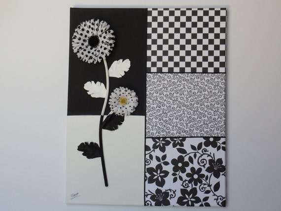 Sale Black and White Art Canvas Polka Dot Daisy Wall Hanging Spectator Abstract (CF110)