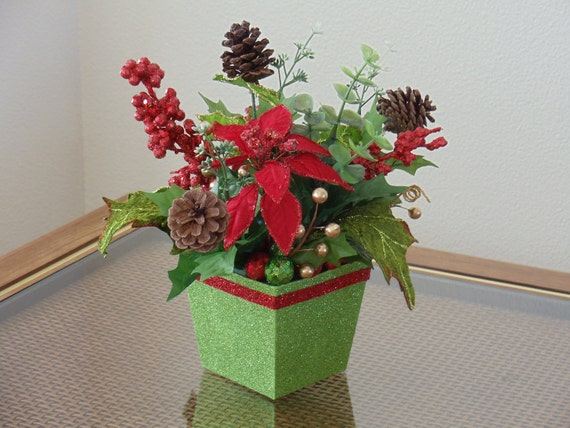 Christmas poinsettia floral arrangement holiday arrangement for Poinsettia arrangements