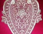 143811001- White Vintage Re Embroidered Lace Floral Medallion Applique