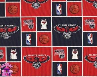 140123487 - NBA Atlanta Hawks Checker Block Cotton Basketball Fabric Sold by the Yard
