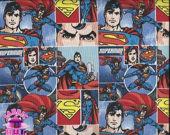 """141149112- 44"""" Wide Superman Arctic Warrior Packed Comic Frames Multi Cotton Fabric By The Yard"""