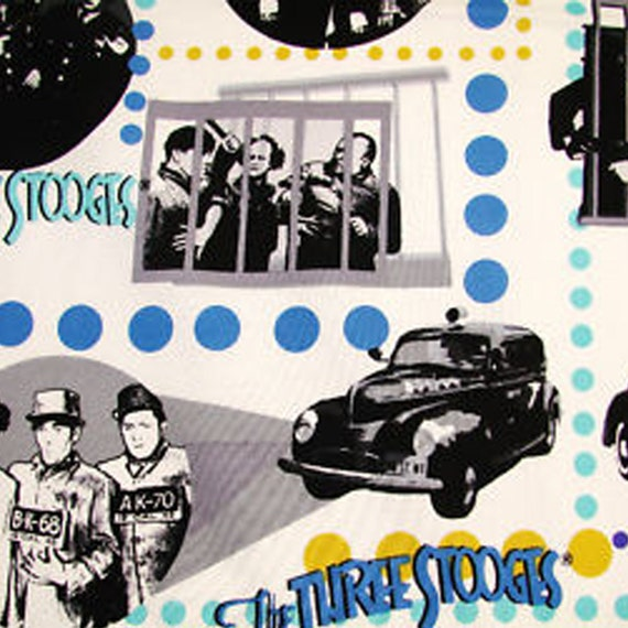 """140230 - 44"""" Wide Robert Kaufman The Three Stooges Cops & Robbers Blue Cotton By The Yard"""
