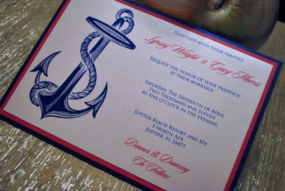 Navy and Pink Anchor Invitation