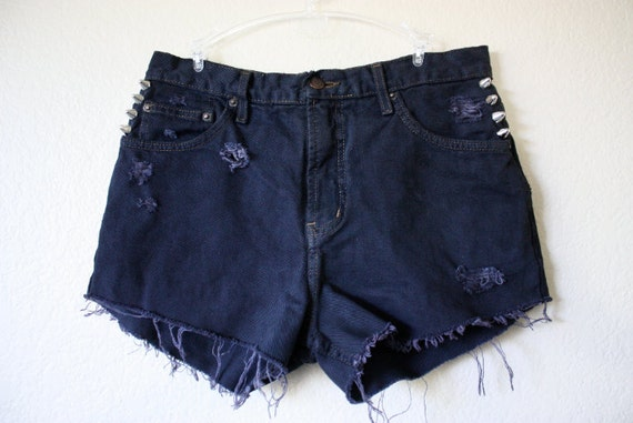 Studded High-Waisted Shorts (Dark Purple/Black)
