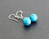 Turquoise bead sterling silver earrings, Hand crafted elegant jewelry by RoyalRocks on Etsy
