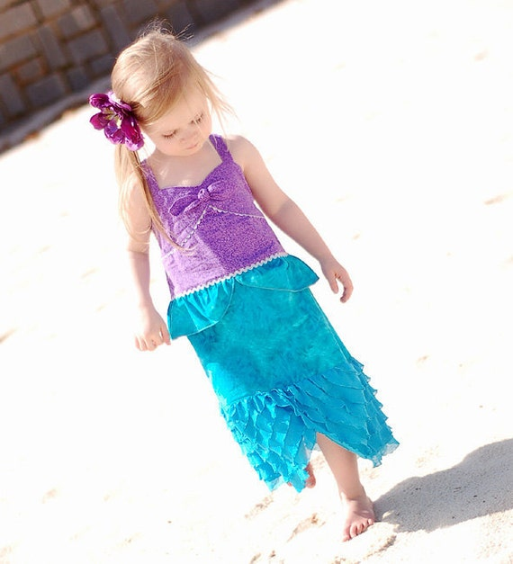 SALE - Ready to ship - RTS- Size 3T Ariel the Little Mermaid Disney vacation dress, dress up or photo prop by littleellaroo