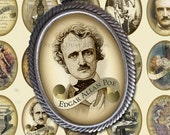 Edgar Allan Poe - Victorian Goth 30x40mm Cameo-Size Oval Textured Images - Digital Collage Sheet - Instant Download