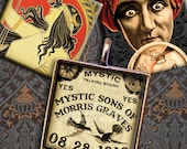 Vintage Mystic Ouija, Crystal Ball, Fortune Teller, Boho - 1 x1 inch Square Tiles - Digital Collage Sheet - Instant Download and Print