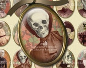 Victorian Goth Skeleton Ladies - 30x40mm Cameo-Size Oval Images - Digital Collage Sheet - Instant Download