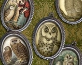 18 x 25mm Simply Victorian Owls - Cameo-Size Oval Images - Digital Collage Sheet - Instant Download