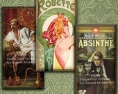 Steampunk Victorian Absinthe and Opium - 1x2 inch Domino Tiles - Art Nouveau, Deco, etc. - Digital Collage Sheet - Instant Download & Print