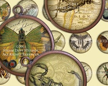 Victorian Entomology - 30mm Circles - Scrolls, Antique Script, Antique Maps - Digital Collage Sheet - Instant Download and Print