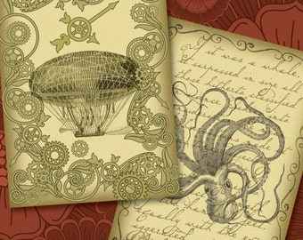Victorian Steampunk Labels, Tags, Cards - Set of 9 - Kraken, Airships, Jules Verne - Digital Collage Sheet, Steampunk Printables, Downloads