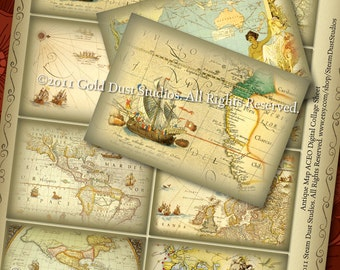 Antique Maps -  Labels/Tags/Cards - Set of 8 - Digital Collage Sheet - Instant Download and Print